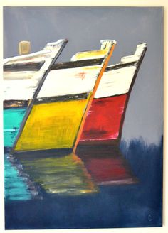 Easy Painting On Canvas Acrylic On Canvas Gustave The Sea Painting Boats And Painting Table Easy To Do On Canvas by decouacon Sailboat Painting, Ocean Art, Easy Paintings, Acrylic Art, Landscape Art, Painting Inspiration, Art Pictures, Abstract Art, Illustration Art