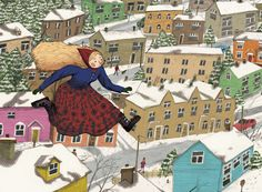 Fair Spring flies over a Town. Speculative final outcome for my project about two characters from Russian Folklore.