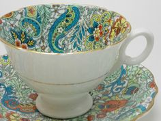 Radfords Blue Green Orange Paisley Chintz Tea Cup and Saucer Vintage Fine Bone China Made in England by TheVintageFind1 on Etsy https://www.etsy.com/au/listing/463704122/radfords-blue-green-orange-paisley