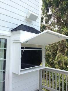 Outdoor Decor, Pool House, House, Outdoor Spaces, Outdoor Tv Enclosure, Backyard Decor, New Homes, Outdoor Tv Cabinet, Outdoor Kitchen