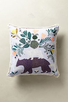 Traditional folklore flora motifs mingle with charming creatures on this delightfully embroidered pillow. Bedding Sets Uk, Embroidered Cushions, Textiles, Anthropologie, Home Decor Fabric, Kids Decor, Soft Furnishings, Home Textile, Decoration