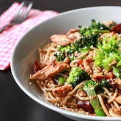 Spicy Chicken Stir Fry Egg Noodles - 30 minutes to finish and you are done. Quick spicy easy and tasty! Asian Recipes, Healthy Recipes, Savoury Recipes, Bacon Recipes, Turkey Recipes, Yummy Recipes, Recipies, Dinner Recipes, Stir Fry With Egg