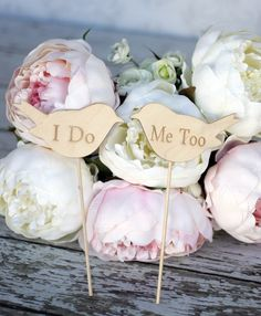 Wood Signs Wedding Cake Toppers Love Birds ' I Do' & 'Me Too'- Set of Two $15 , Why didnt I see this website before!!!