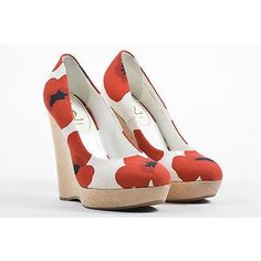 """Pre-Owned Yves Saint Laurent Ysl Red White Poppy Print """"""""Maryna""""""""Wood... ($185) ❤ liked on Polyvore featuring shoes, multi, wedge shoes, white wedge shoes, white platform shoes, grip shoes and yves saint laurent"""