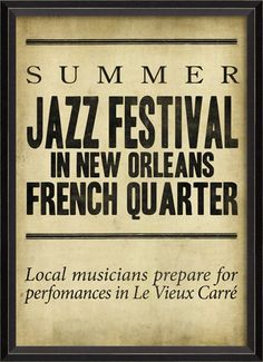 Framed Graphic giclee Print  BC Summer Jazz Festival in French Quarter  #gicleeprint #print #framedprint #wallart #art #jazzfestival #frenchquarter #neworleans #music #freeshipping