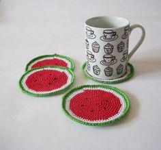 Watermelon Crochet Coasters Red Green by DesireKnitAndCrochet