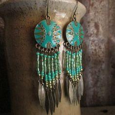 Boho Enameled Chandlier Earrings Western by TheBuckingMare on Etsy