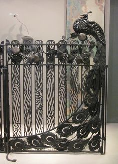 Peacock Gate France 1920s wrought iron