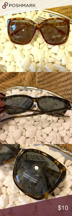 Brown tortoise shell sunglasses These bow framed tortoise shell sunglasses are sure to keep you seeing clear! With their UV protection and polycarbonate lenses you can wear them all day with confidence! Accessories Sunglasses
