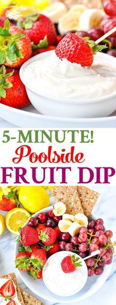 Healthy Snacks For Kids Poolside Fruit Dip! Healthy Snacks for Kids Healthy Party Snacks, Healthy Recipes, Healthy Fruits, Fruit Recipes, Easy Snacks, Healthy Desserts, Dip Recipes, Snacks Kids, Pool Snacks