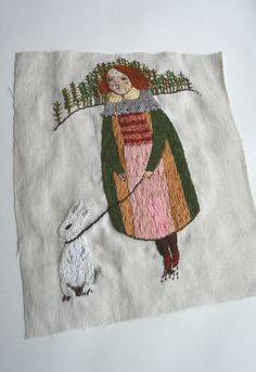 White Hare - Handstitched Embroidery by maidolls on Etsy