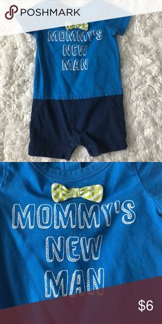 "Baby boy romper ""Mommy's New Man"" romper with bow tie and faux shirt/shorts look. Has mild wash wear but no holes/stains. Size 9m. Koala Kids One Pieces"