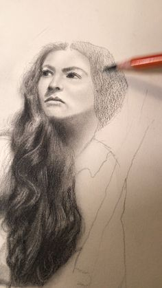 Realistic portrait drawing in charcoal pencils by classical figurative artist Eric Armusik. Charcoal on paper, 12 x 2018 Pencil Portrait Drawing, Portrait Sketches, Pencil Art Drawings, Realistic Drawings, Art Drawings Sketches, Portrait Art, Simple Drawings, Cartoon Drawings, Animal Drawings