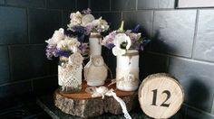 Vintage lace wedding- shabby chic- home decor - lace bottles & jars