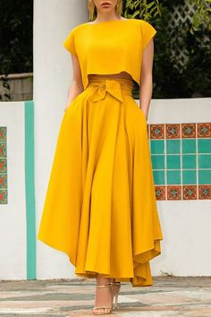 Elegant Plain A-Line Casual Womens Two Piece Sets - Look Fashion Look Fashion, Hijab Fashion, Fashion Dresses, Fashion Design, Fashion Days, Stylish Dresses, Cheap Fashion, Fashion Photo, Sexy Dresses
