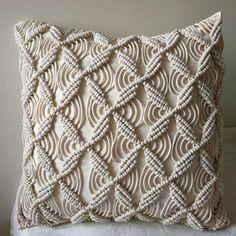 Macramé pillow cover Boho cushion cover cotton wedding pillow cover boho home decor, customized size DIY Event, Cute Cushions, Boho Cushions, Macrame Art, Macrame Projects, Cushion Covers, Pillow Covers, Wedding Pillows, Boho Home, Décor Boho