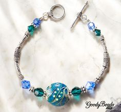 GoodyBeads.com | Blog: Lampwork Jewelry - Coastal Ripples Bracelet. Easy DIY Bracelet Tutorial.