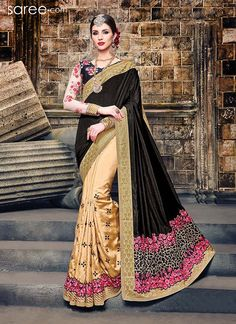 BLACK AND BEIGE ART SILK SAREE WITH EMBROIDERY WORK
