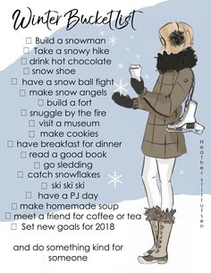 Winter Bucket List Printable Heather Stillufsen Winter Bucket List is part of Winter Bucket List Printable Heather Stillufsen Winter 2018 What& on your bucket list Snuggling by the fire, readin - Winter Fun, Winter Time, Winter Christmas, Winter Magic, Winter Holidays, Christmas Time, Bujo, Herbst Bucket List, Rose Hill Designs