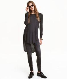 Long Jersey Top | Black | Ladies | H&M US