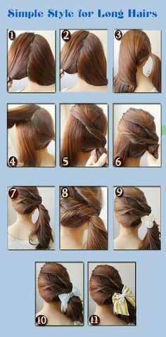 A very simple and elegant hairdo. Pretty Hairstyles, Easy Hairstyles, Straight Hairstyles, Japanese Hairstyles, Korean Hairstyles, Wedding Hairstyles, Simple Ponytails, Love Hair, About Hair