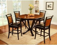 CDC148 Two Toned Brown Round Pub Table