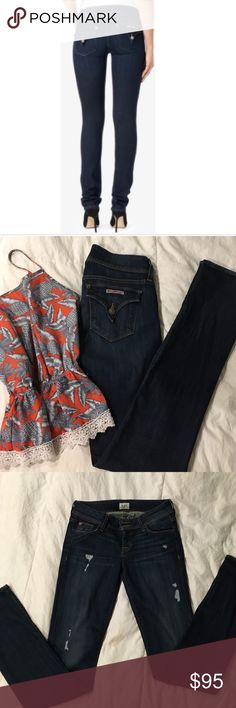"""Hudson jeans These are AMAZING super stretchy which makes them SO COMFY to wear and very flattering on. Ginny straight is the name dark wash size 26 brand NEW only worn once, bought for $200 in LA not long ago. Inseam is 34"""" perfect for heels or cuff up and pair with chucks Hudson Jeans Pants Straight Leg"""