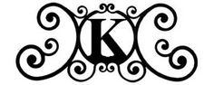 Metal Wall Art - Wrought Iron Monogram Over The Door Wall Plaque ~ Letter K