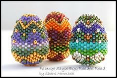 Tutorial - Faberge Style Egg Beaded Bead - peyote stitch instant download
