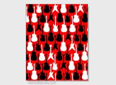 Customizable Guitars Pop Art Print, You Choose as many colors as youd like, Modern Rock and Roll Nursery Art Print in red, black and white