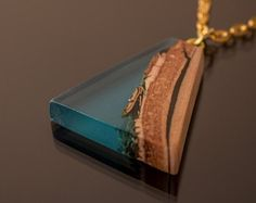 Electro harmony wooden pendant - nature pendant, resin necklace, wooden necklace, statement necklace, blue resin necklace, reclaimed wood.