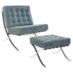 Stainless steel-framed lounge chair and ottoman set with tufted blue denim upholstery.