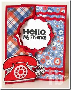 Hello My Friend! created by Frances Byrne using phone4you – The Stamps of Life and Sizzix Regal Flip-its Card Framelits