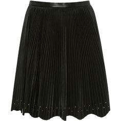 Elie Saab Pleated Mini Skirt (140,000 PHP) via Polyvore featuring skirts, mini skirts, black, pleated skirt, pleated mini skirt, scalloped mini skirt, scalloped skirt and leather pleated mini skirt