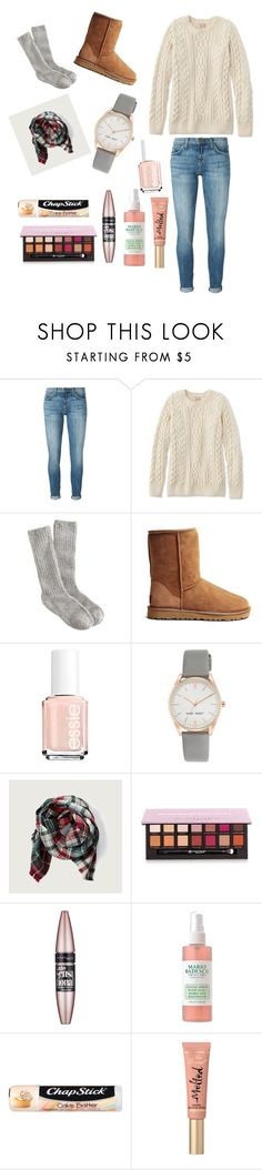 """""""Friendsgiving"""" by rileyapplegate ❤ liked on Polyvore featuring Current/Elliott, L.L.Bean, J.Crew, UGG Australia, Essie, Nine West, Abercrombie & Fitch, Anastasia Beverly Hills, Maybelline and Chapstick"""