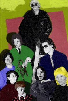 Andy Warhol together with the Velvet Underground, Nico, and performers Gerard Malanga & Mary Woronov.