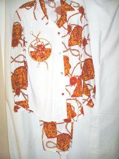 "New Size M Dressy Pants Set, Polyester by Superline 26 1/2""  Rope on White, L/SL #Superline #PantsSet"