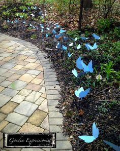 Not easily photographed, 100 butterflies lead guests to the backyard. Inspired by Pinterest.