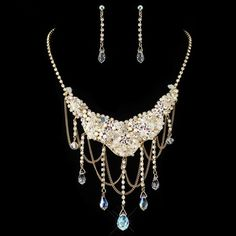 Gold Aurora Borealis & Light Topaz Crystal Jewelry Set | A Moment In Time Boutique