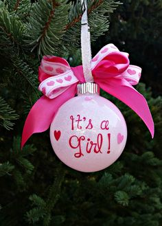 Gender Reveal Ornament, It's a girl Ornament, Girl Christmas Ornament by SarahsVinylShop on Etsy