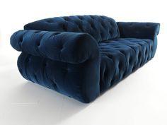 Paramount sofa in blue velvet