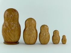 Vintage Russian Lacquered Carved Wood Nesting Dolls Madonna & Child 5 pc #Unbranded #Religious