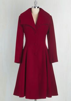 Intrigue All About it Coat in Crimson | Mod Retro Vintage Coats | ModCloth.com