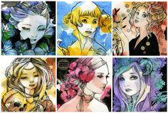 Six art-nouveau Ladies by nati.deviantart.com on @deviantART