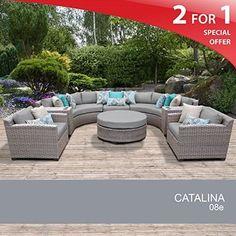 Catalina 8 Piece Outdoor Wicker Patio Furniture Set 08e, Grey