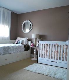 Trendy Baby Nursery Layout Shared Bedrooms 24 Ideas Trendy Baby Nursery Layout Shared Bedrooms 24 Id Baby Bedroom, Nursery Room, Girl Room, Girls Bedroom, Nursery Works, Bedroom Ideas, Nursery Ideas, Chic Nursery, Guest Room And Nursery Combo