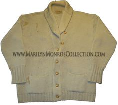 Marilyn Monroe's Personal Sweater.        From the personal wardrobe of Marilyn Monroe:  A camel colored cardigan sweater with rounded lapels, two front pockets, and seven-button enclosure, made by Guistex of New York.