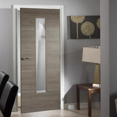 Laminate Santandor Light Grey Door with Clear Safety Glass - Prefinished - Lifestyle Image. Grey Internal Doors, Grey Doors, Black Interior Doors, Gray Interior, Door Fittings, Modern Door, Single Doors, Wooden Doors, Contemporary Interior
