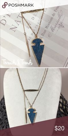 "Dual Layered Blue Stone Necklace Dual Boho jeweled Necklace blue arrow gold chain with shorter faith accent necklace.                                                                Search ID # jeweled non rhinestone. 20"" Threads & Trends Jewelry Necklaces"