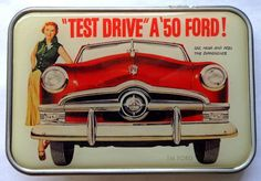 1950 Ford belt buckle hot rod drag race classic car shoebox pin up girl #retroagogo